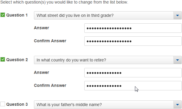 Managing Your Security Questions and Answers